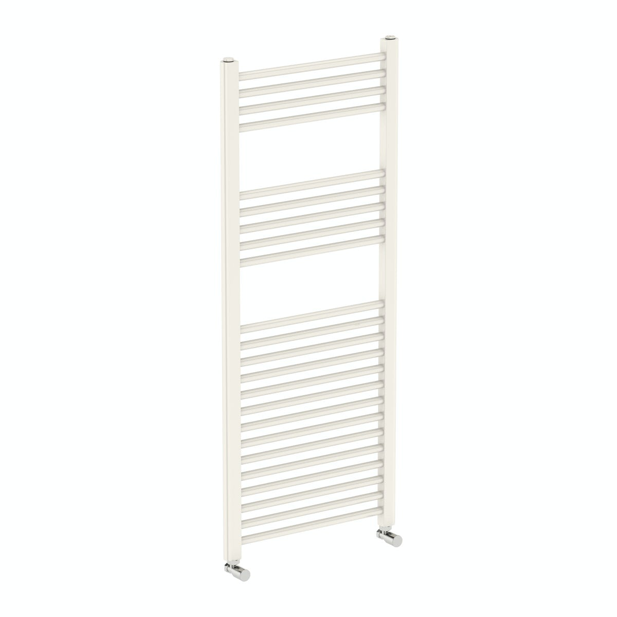 Eden round white heated towel rail 1200 x 490
