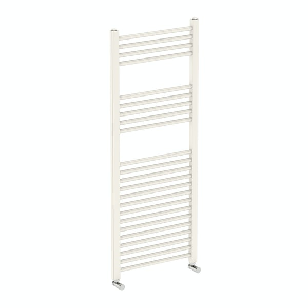 Eden round white heated towel rail 1200 x 490 offer pack