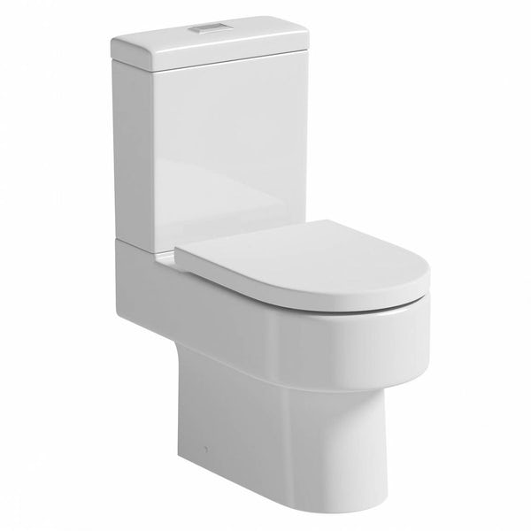 Orchard Dee close coupled toilet with rectangular push button and soft close toilet seat