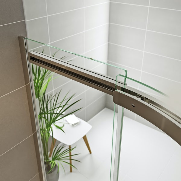 Mode Foster stainless steel right handed offset quadrant shower enclosure 1000 x 800