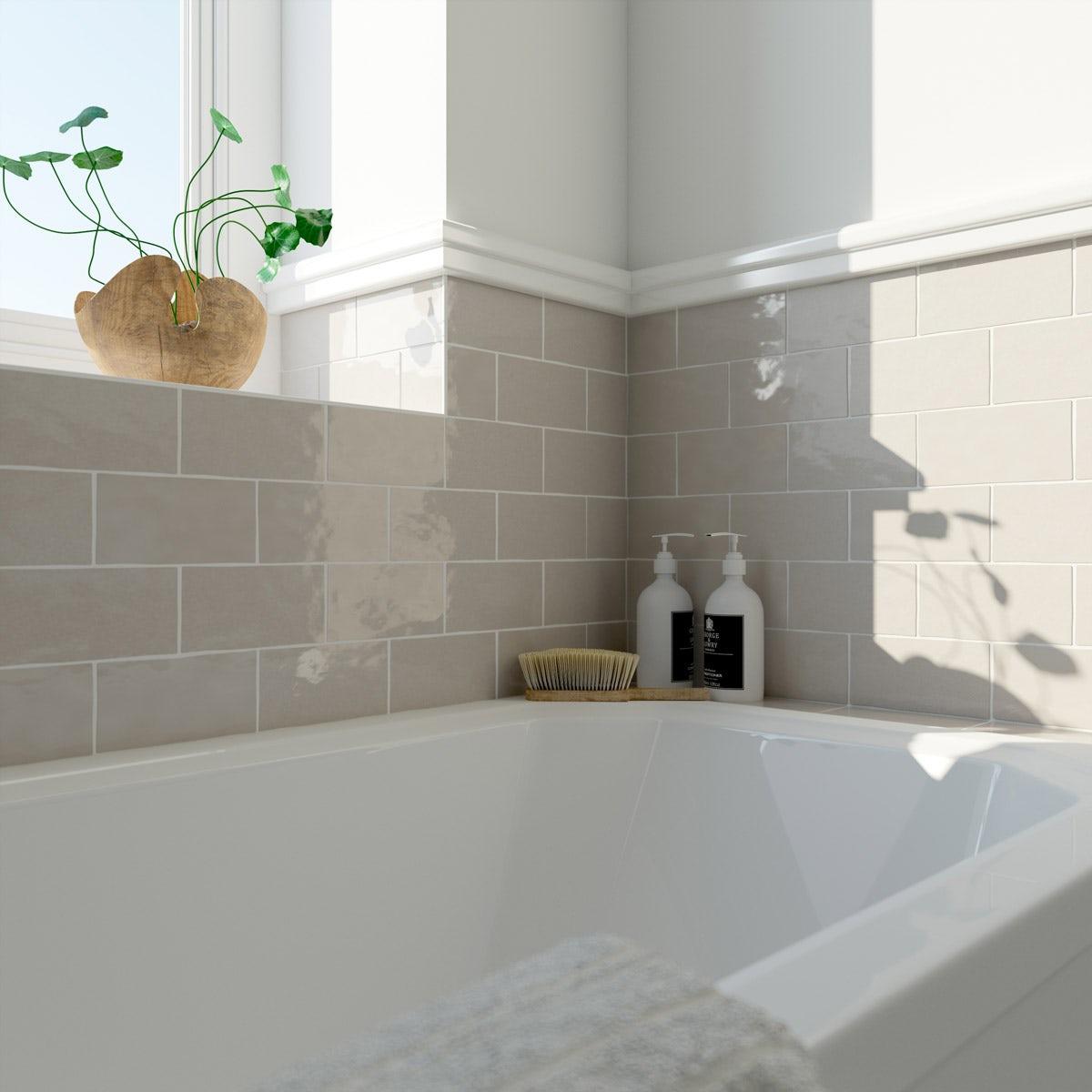 Laura Ashley Artisan cobblestone wall brown gloss tile 75mm x 150mm