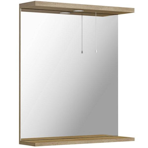 Sienna Oak 65 Mirror with lights