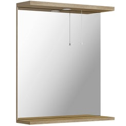 Sienna oak bathroom mirror with lights 650mm