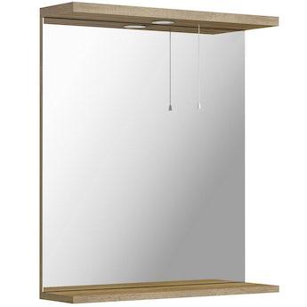 Sienna oak bathroom mirror with lights 650mm