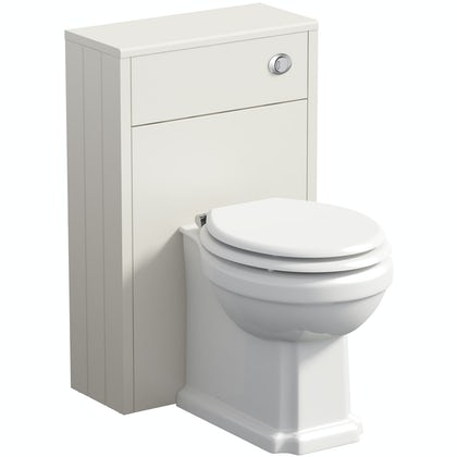 The Bath Co. Dulwich stone ivory slimline back to wall unit and toilet with white wooden seat