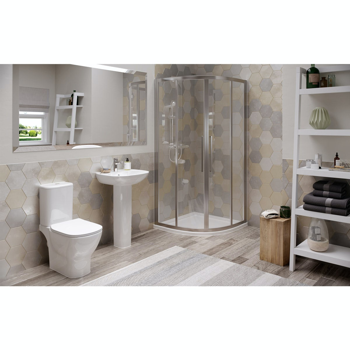 Ideal Standard Tesi complete shower ensuite suite with quadrant enclosure, tray, shower, tap and wastes 800 x 800