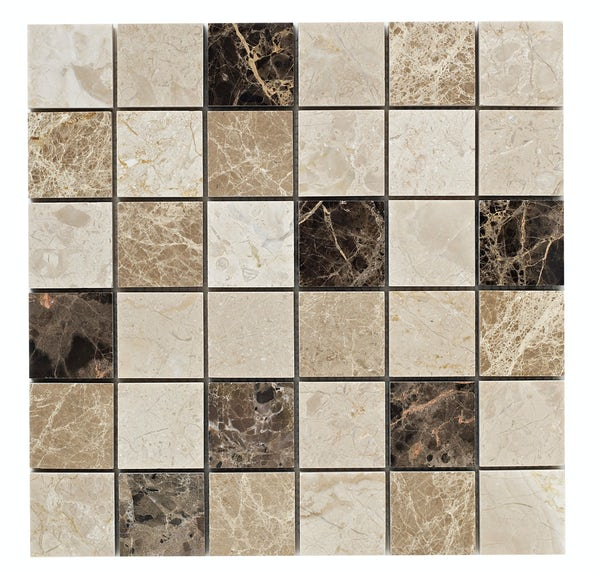 British Ceramic Tile Mosaic rock beige gloss tile 305mm x 305mm - 1 sheet