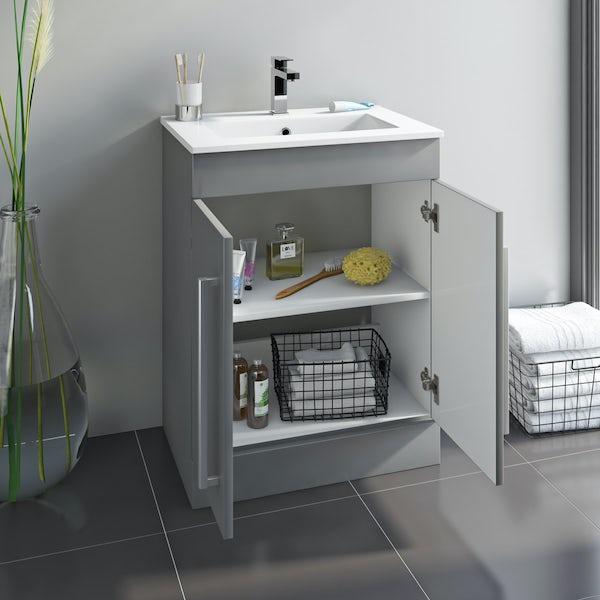Orchard Derwent stone grey vanity door unit and  mirror 600mm