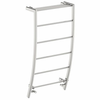 Chrome curved heated towel rail 1200 x 600