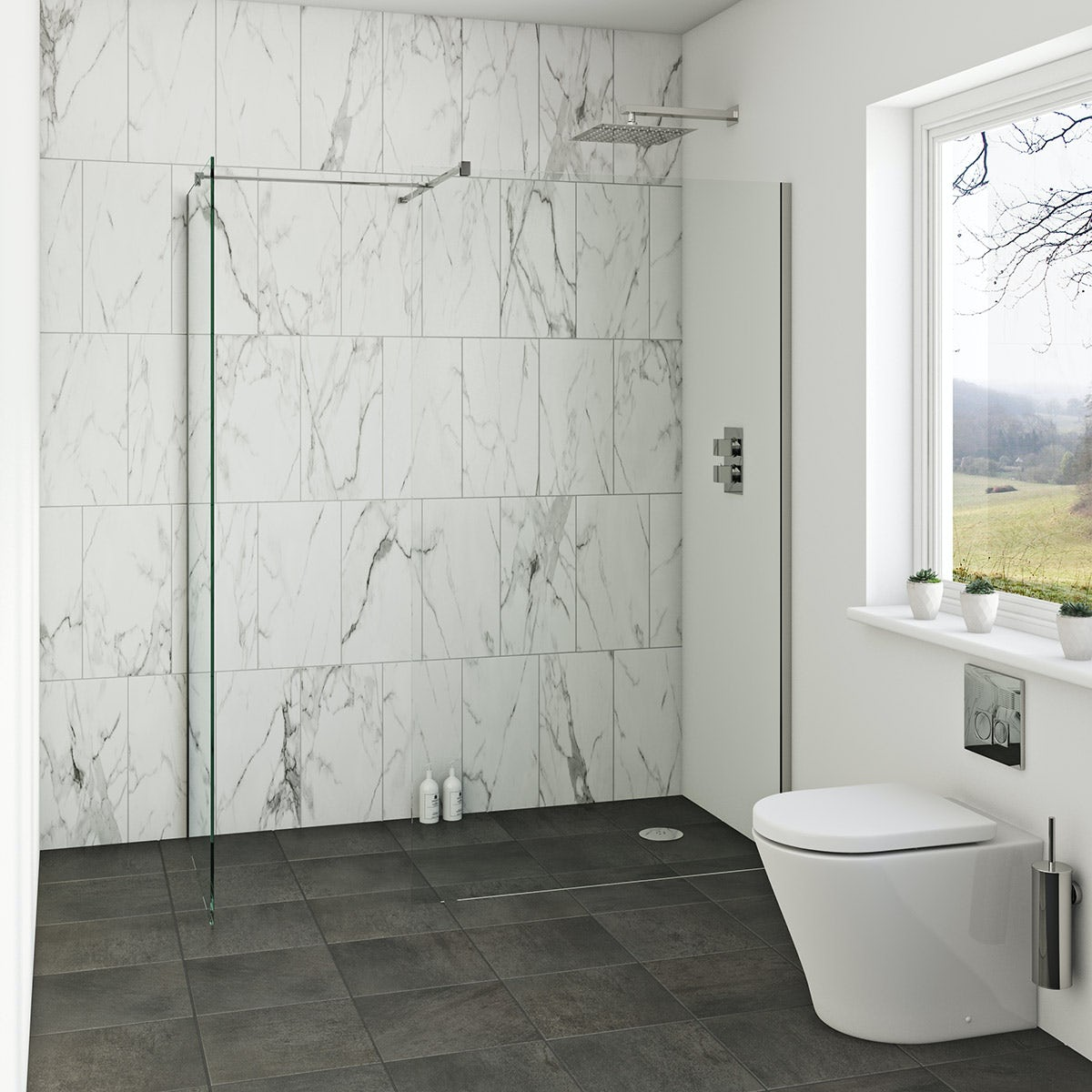 Orchard 8mm wet room enclosure glass panel packs - Bath shower room ...