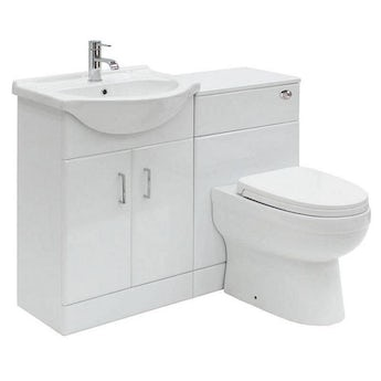 Sienna white 1140 combination unit with Eden back to wall toilet