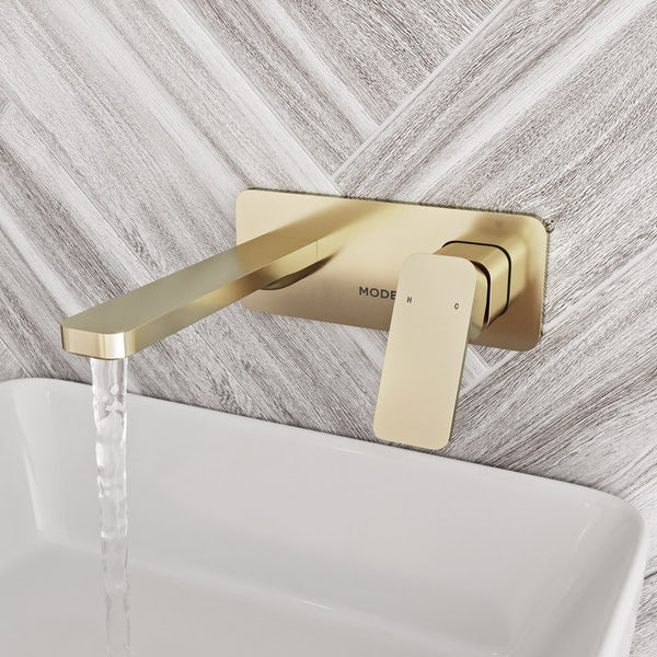 Mode Spencer square wall mounted gold basin mixer tap offer pack