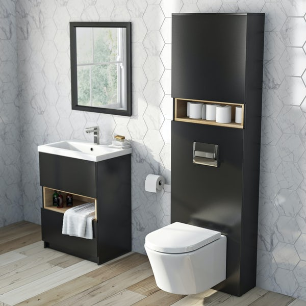 Mode Tate anthracite & oak tall toilet unit