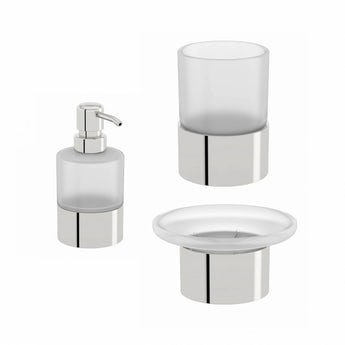 Orchard Options frosted glass basin accessory set
