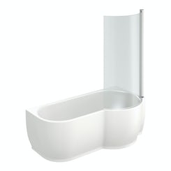 Maine right handed P shaped shower bath with 6mm shower screen
