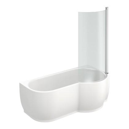 Harrison P Shaped Freestanding Shower Bath & 6mm Screen RH