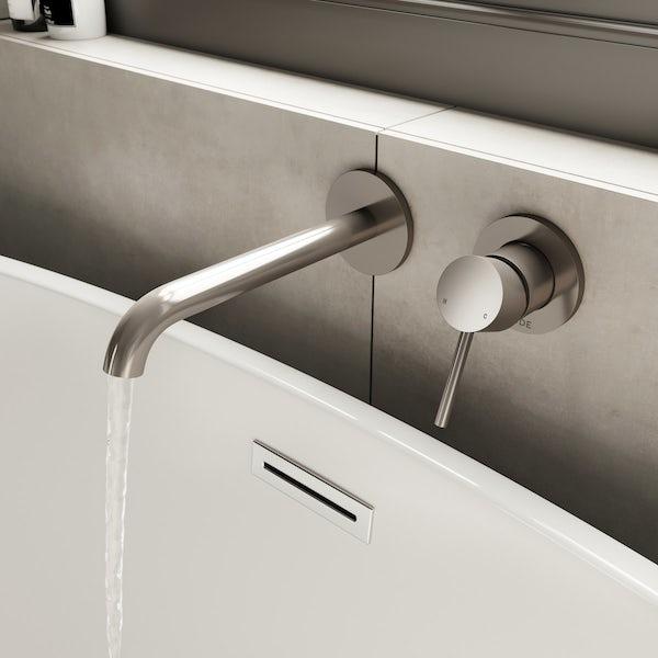 Mode Spencer round wall mounted brushed nickel bath mixer tap