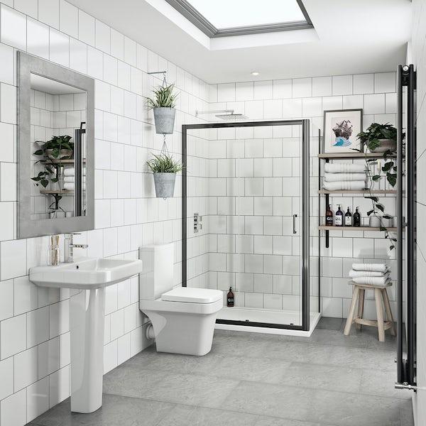 Carter bathroom suite with 6mm black enclosure 1200 x 800