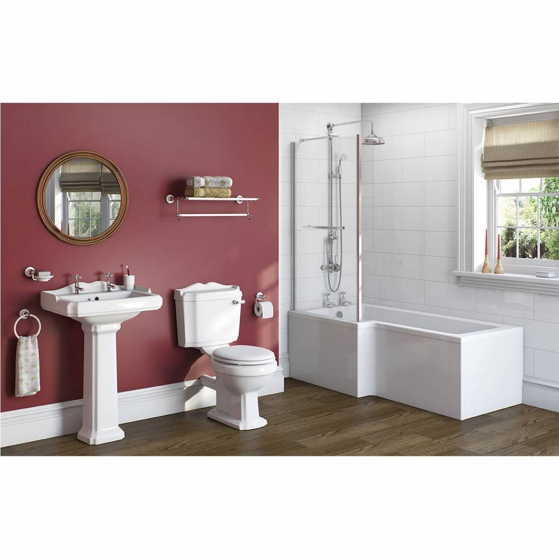 The Bath Co. Winchester bathroom suite with left handed L shaped shower bath and taps 1700 x 850