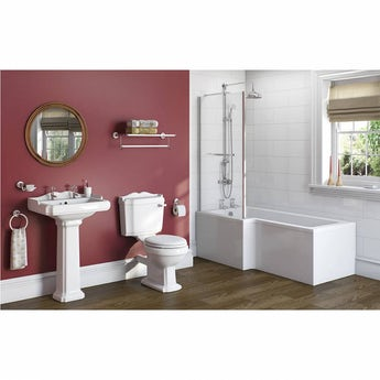 The Bath Co. Winchester bathroom suite with left handed L shaped shower bath 1700 x 850