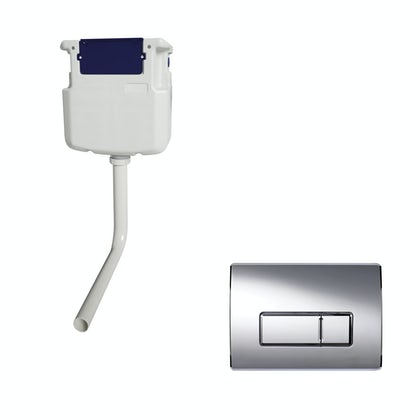 Macdee Wirquin pneumatic concealed toilet cistern with rectangular chrome dual flush push plate