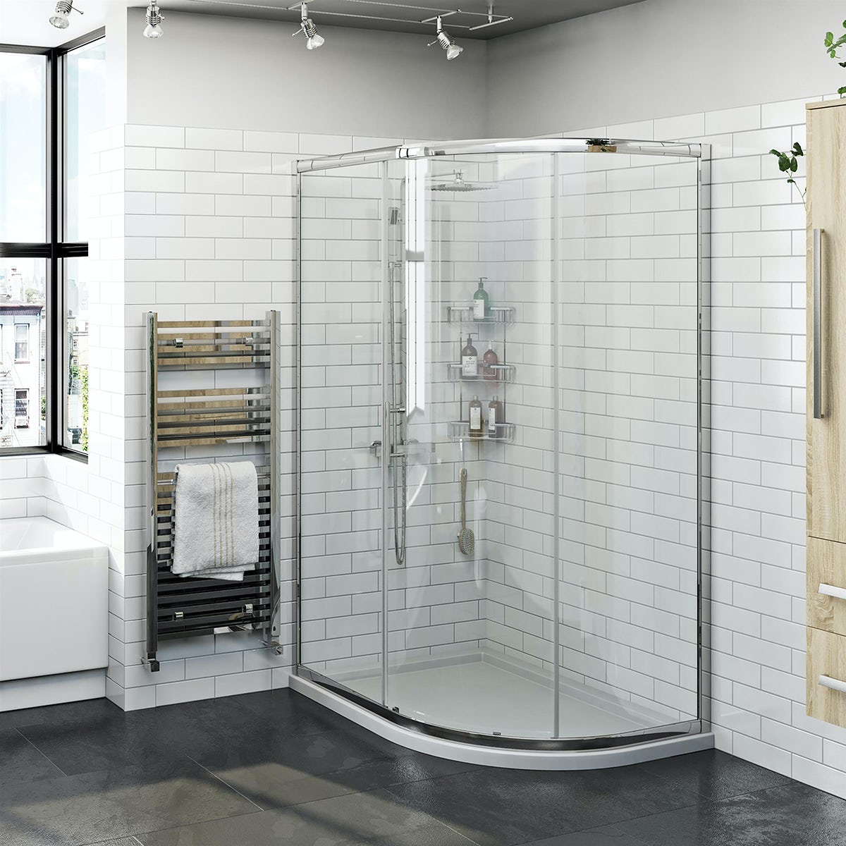 Orchard 6mm one door offset quadrant shower enclosure