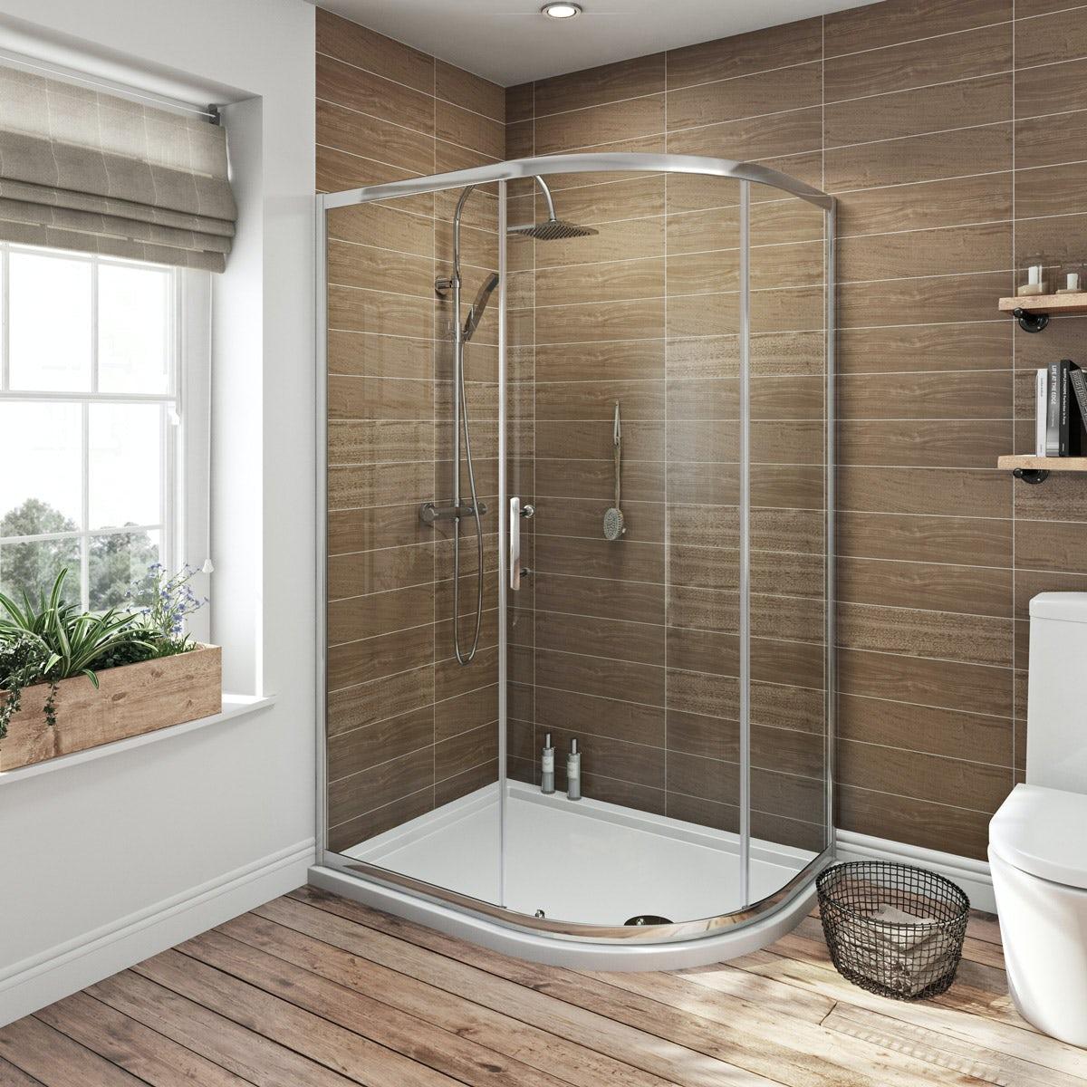Orchard 6mm single door offset quadrant shower enclosure offer pack
