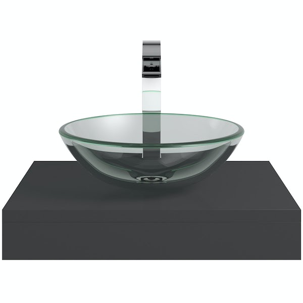 Mode Orion slate countertop shelf with Mackintosh basin, tap and waste
