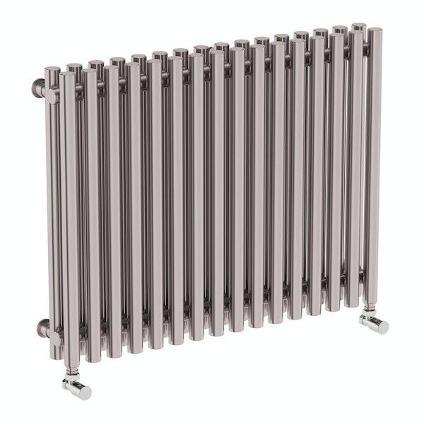 Tune matt nickel double horizontal radiator 600 x 790