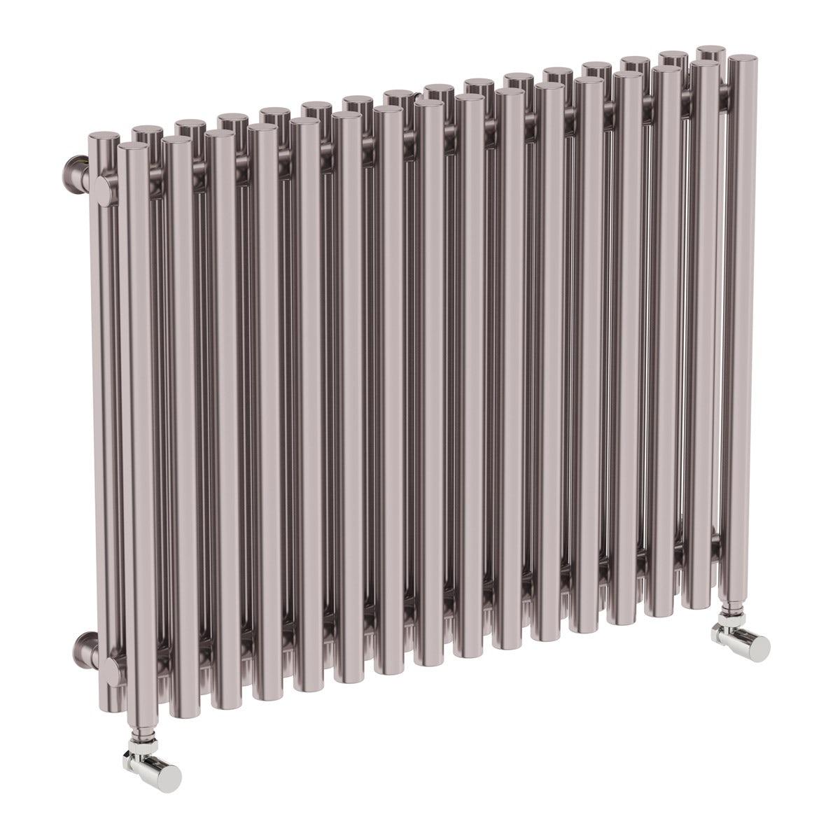 Terma Tune matt nickel double horizontal radiator 600 x 790
