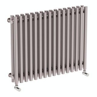Tune matt nickel double horizontal radiator 600 x 790