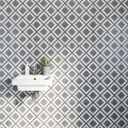 British Ceramic Tile diamond feature black matt tile 331mm x 331mm
