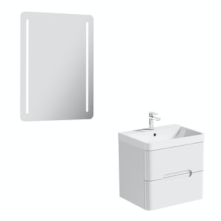 Mode Ellis white wall hung vanity unit 600mm and mirror offer