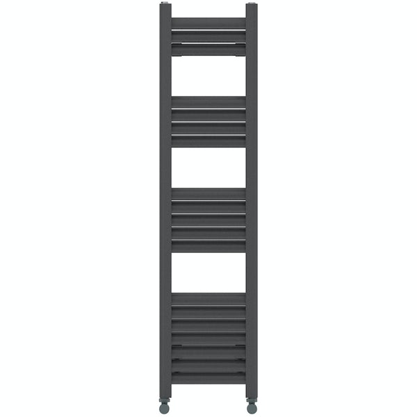 Mode Carter charcoal black heated towel rail 1200 x 300mm