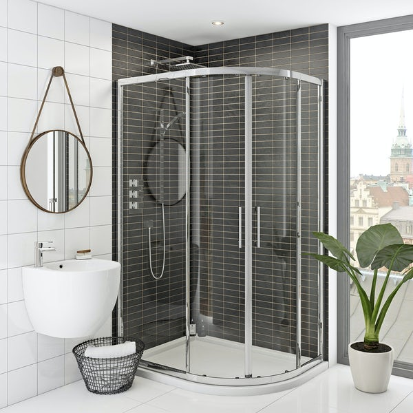 Mode Hardy 8mm right handed offset quadrant shower enclosure and stone shower tray