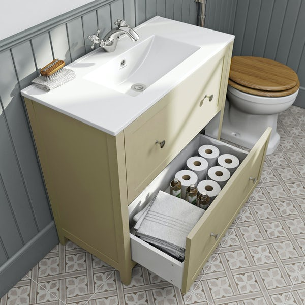 The Bath Co. Camberley satin ivory floor drawer unit with basin 800mm