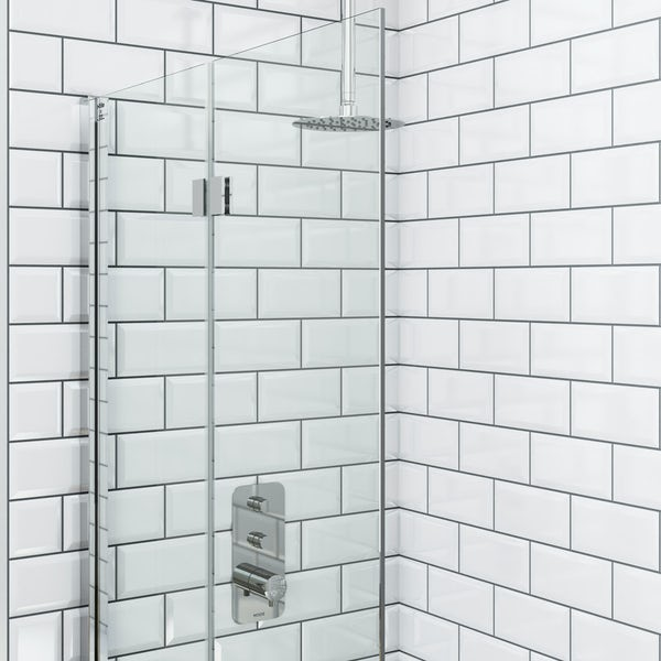 Mode Foster thermostatic push button shower set with ceiling arm and bath filler waste