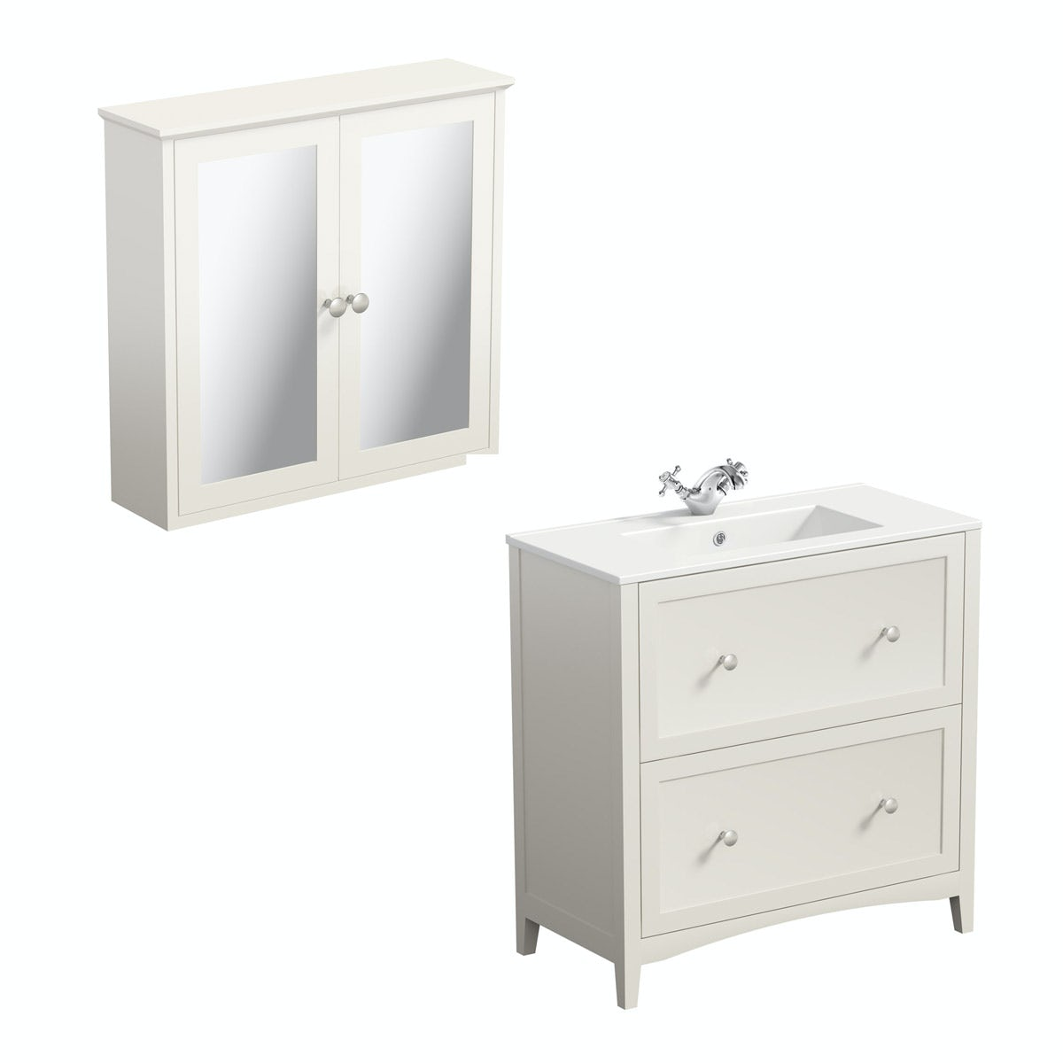 The Bath Co. Camberley satin ivory floor drawer unit with basin 800mm with mirror cabinet