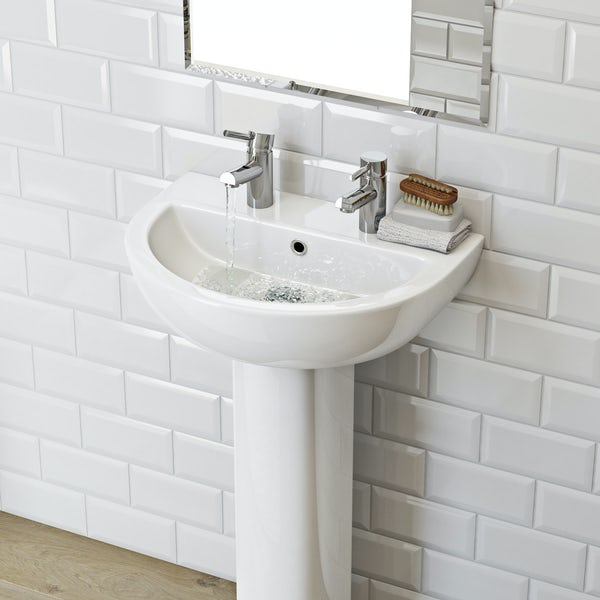 Elena 2 tap hole full pedestal basin 550mm