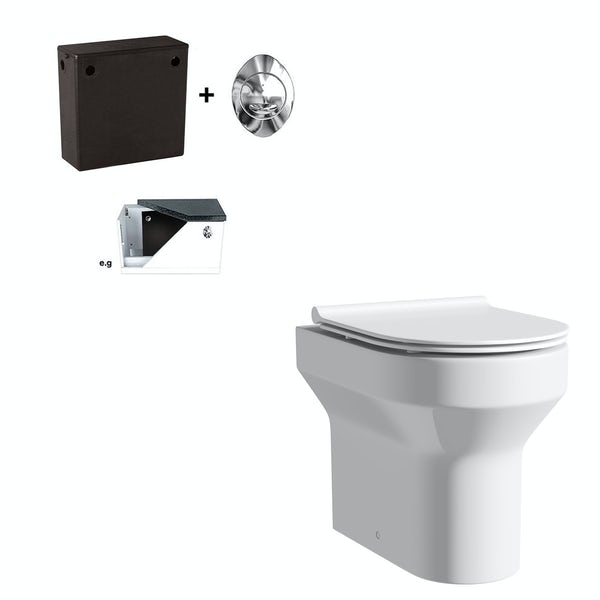 Orchard Wharfe back to wall toilet with soft close slim seat and concealed cistern