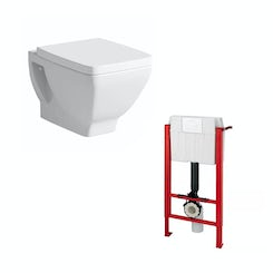 Verso wall hung toilet and wall mounting frame