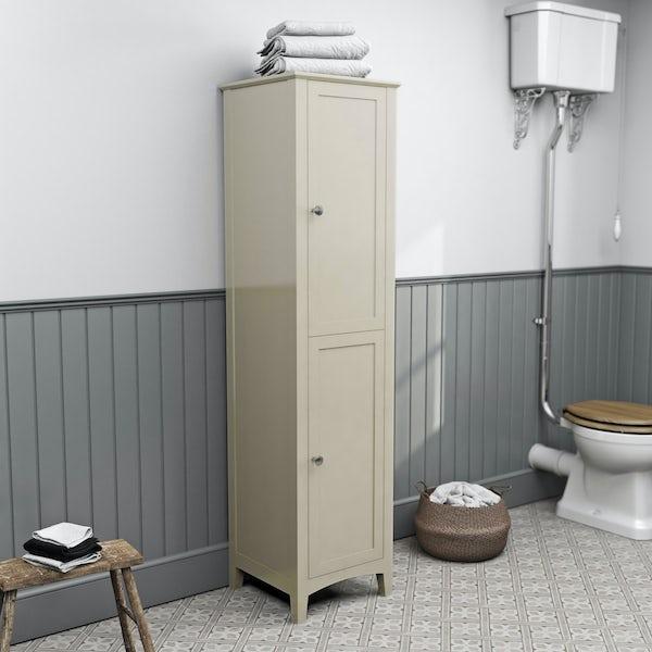 The Bath Co. Camberley satin ivory tall storage unit