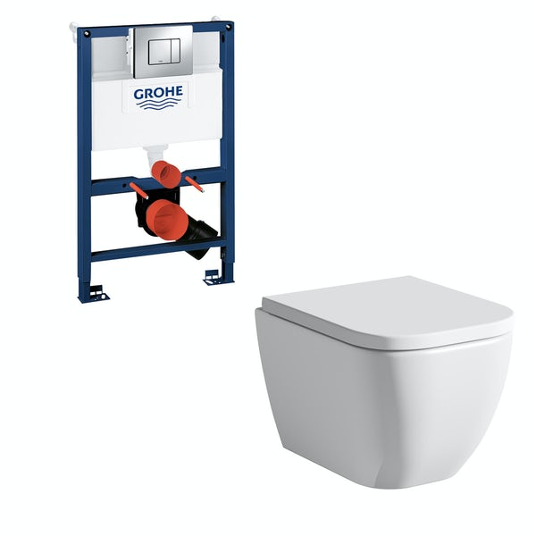 Mode Ellis wall hung toilet, Grohe frame and Skate Cosmopolitan push plate 0.82m