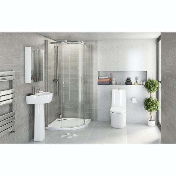 Tate Bathroom Suite with 8mm Frameless 800 Quad and Tray