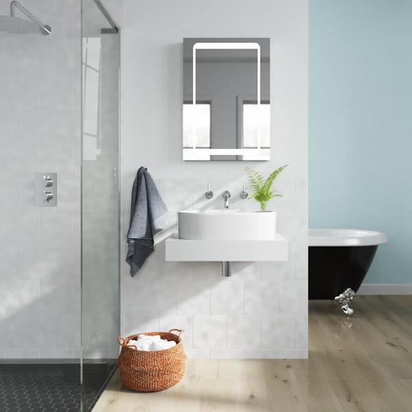 Mode Orion white wall hung countertop basin shelf