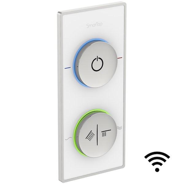 SmarTap white smart shower system with complete square ceiling shower outlet bath set