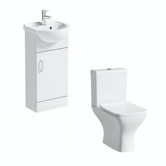 Sienna 41 White Vanity Unit with Compact Square Toilet