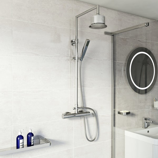 Mode Cool Touch square thermostatic exposed mixer shower with bluetooth speaker shower head