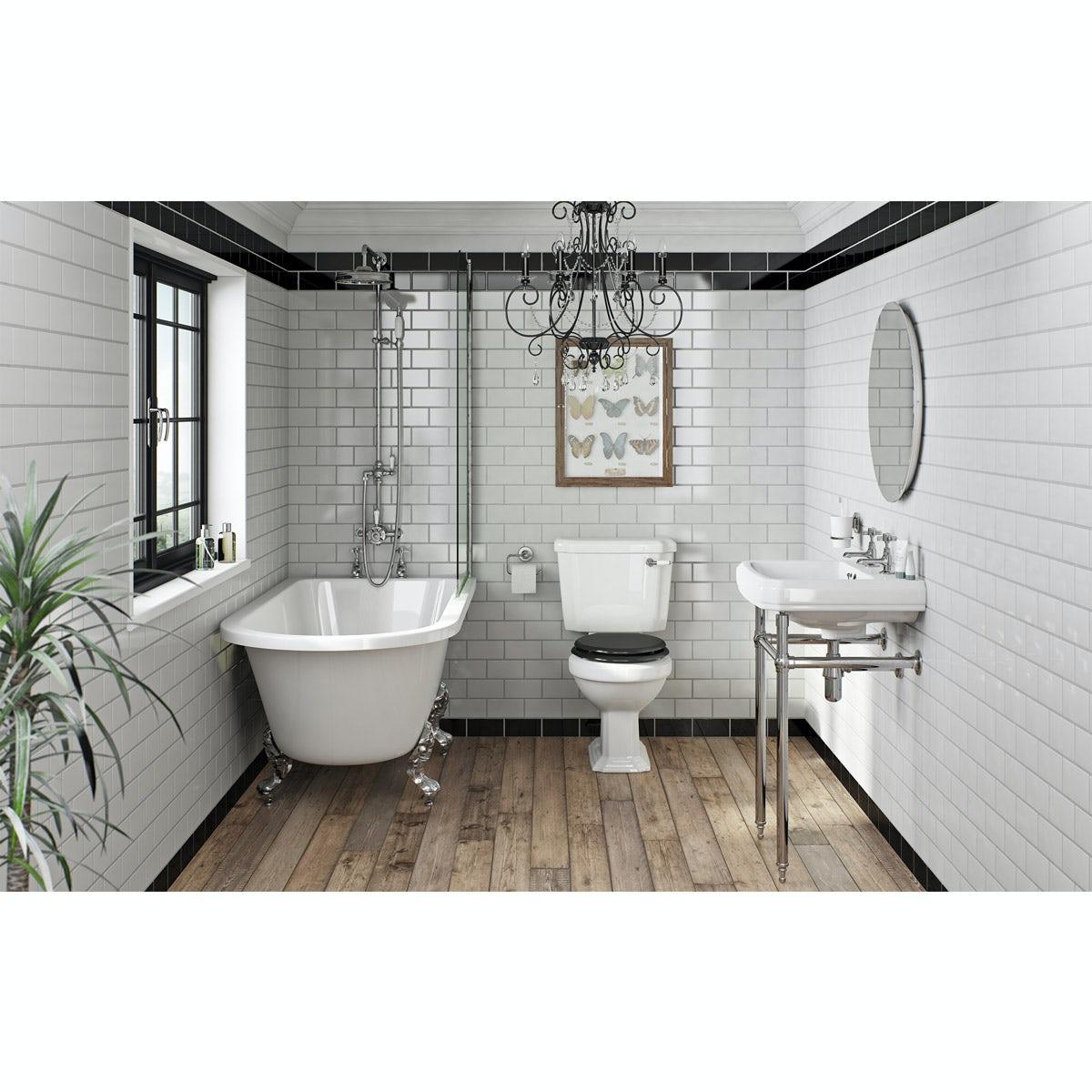 The Bath Co. Dulwich black bathroom suite with freestanding shower bath