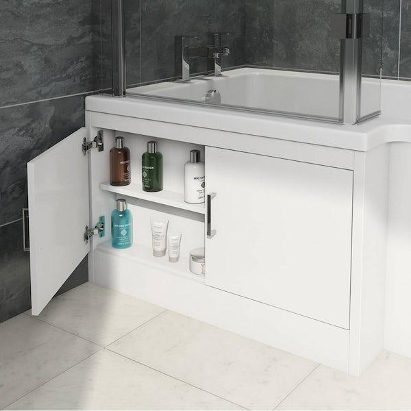 MySpace Water Saving L Shape Shower Bath Left Hand with Storage Panel & 8mm Luxury Hinged Screen